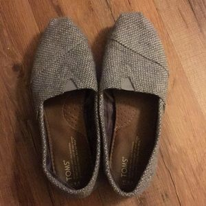 Size 9.5 Grey Toms with Pink Bottoms